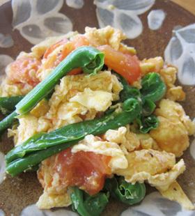 オオタニワタリとトマト卵炒め